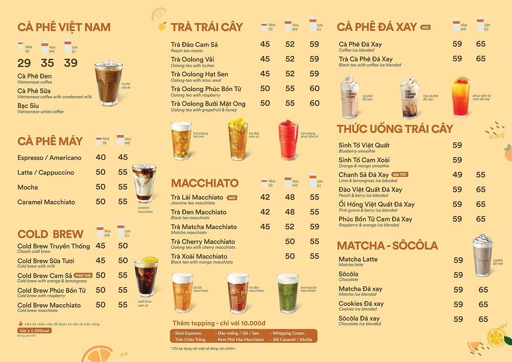 Menu The Coffee House đa dạng nhóm đồ uống