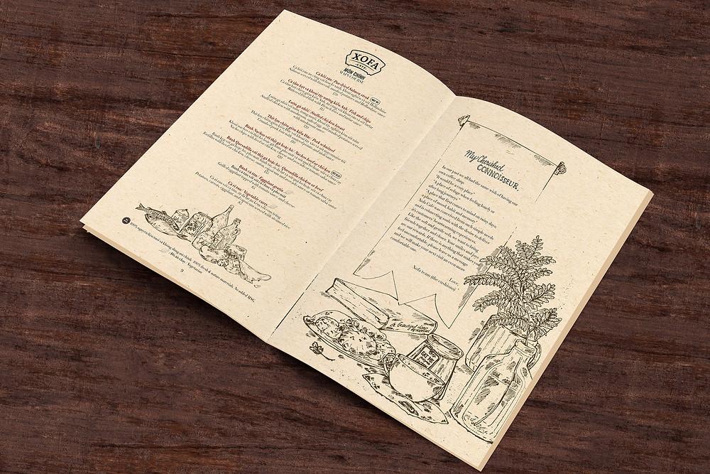 Thiết kế menu Xofa Cafe Tống Duy Tân