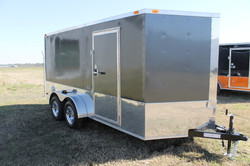 7x14 Cargo Trailer Charcoal Gray Motorcycle Package