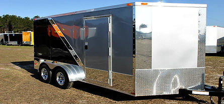 7x14TA Enclosed Motorcycle Trailer Black