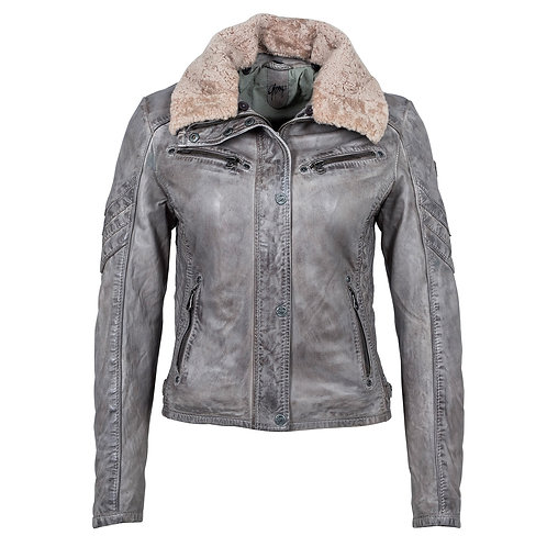 Leather Short Jacket with Soft Fur Collar