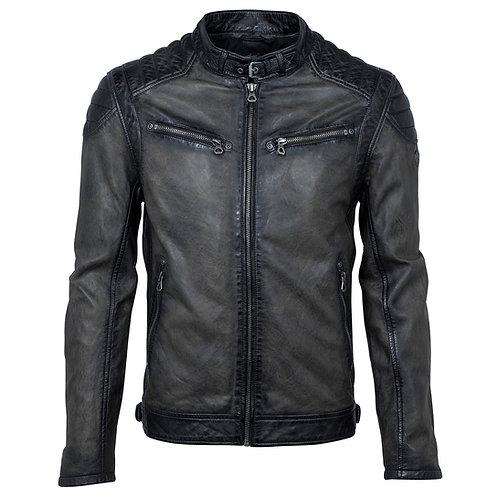 Biker jacket with quilted shoulder