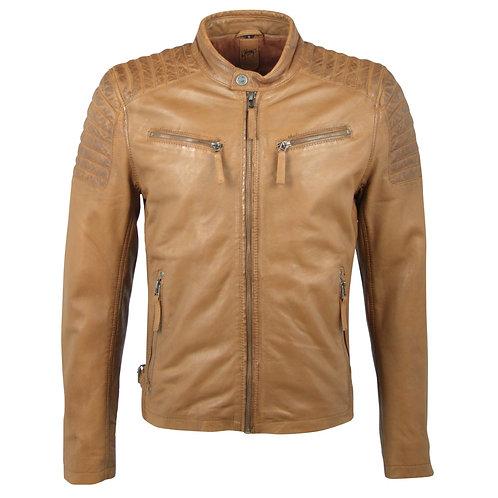 Men's biker jacket with several zipper pockets