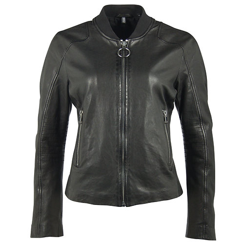 Leather Biker Jacket with Textile Collar
