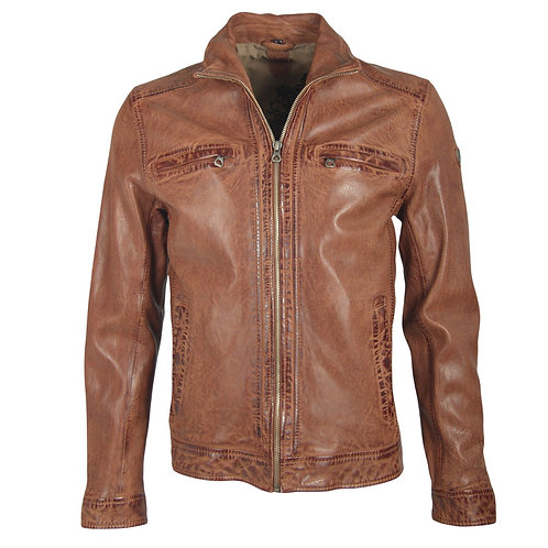 Biker jacket with folding collar