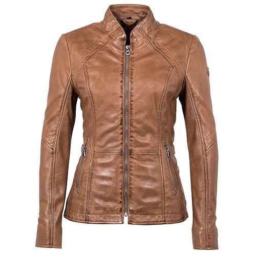Biker jacket with adjustable straps on the sides