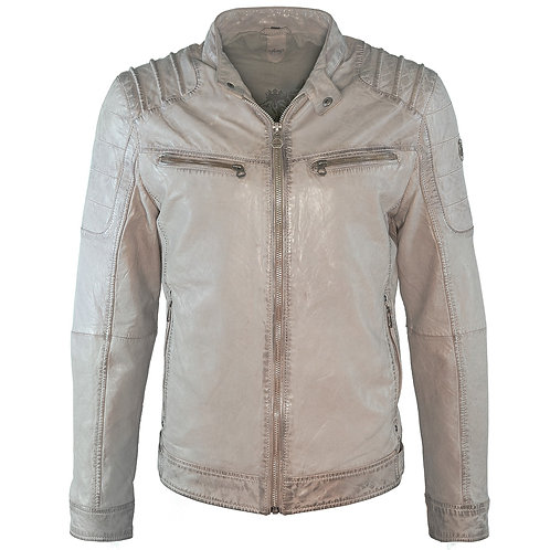 Slim fit biker jacket with accentuated shoulders
