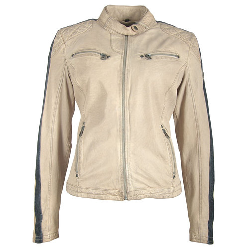 Leather jacket with racer stripes