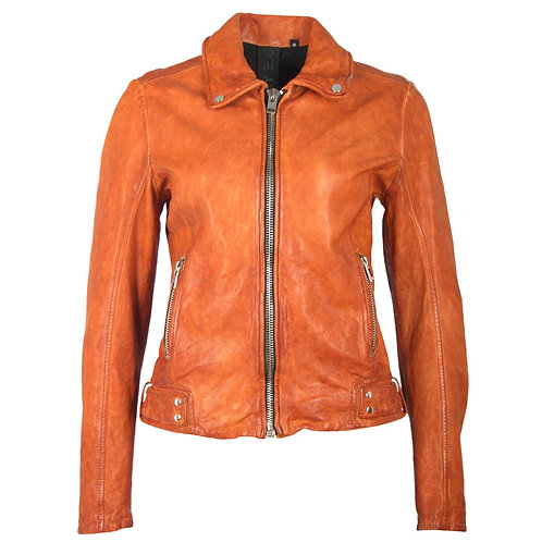 Bright biker jacket made of smooth leather