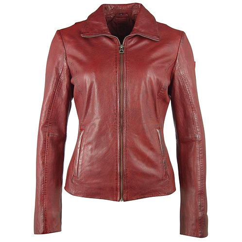 Leather jacket with shirt collar