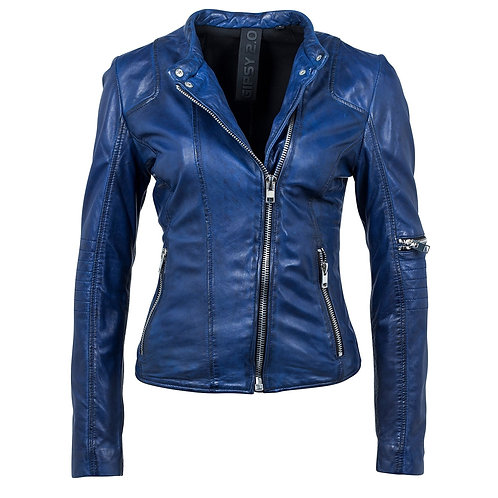 Biker jacket with asymmetric zipper
