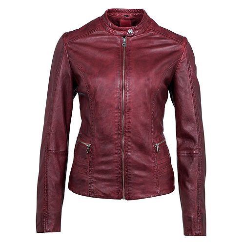 Biker jacket with stand-up collar