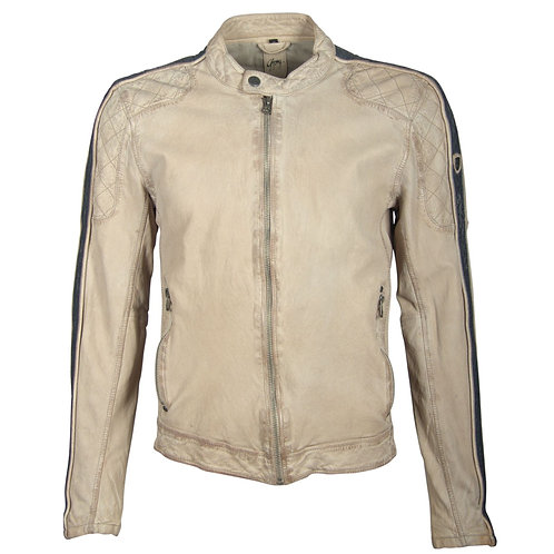 Biker jacket with racer stripes on the sleeve