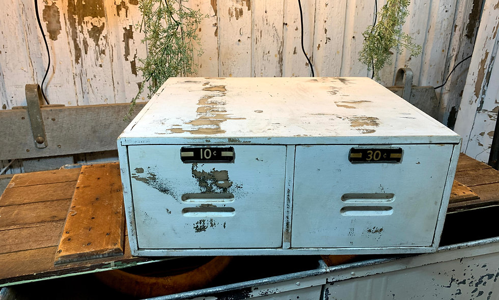Vintage Wooden Distressed White 2 Drawer File Cabinet