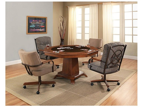 Vaughn Game Table & 4 Rolling Grey Chairs