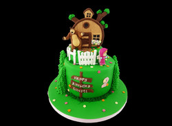 Two Tier Marsha and the bear theme Cake