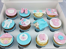 12 Unisex Baby Shower Cupcakes Pink And Blue Bbkakes