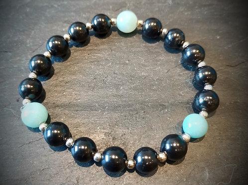 Amazonite, Sterling Silver and Shungite Bracelet