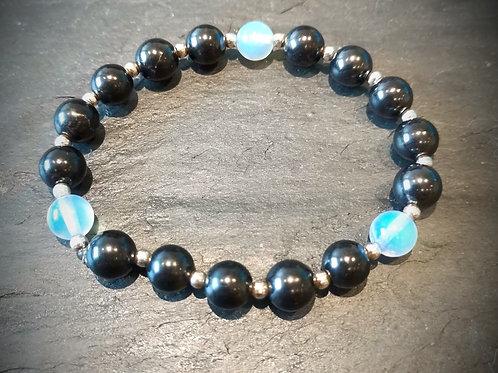 Opalite, Sterling Silver and Shungite Bracelet