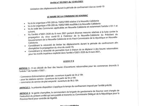 Arrêté municipal - Limitation des déplacements durant la période de confinement due au COVID