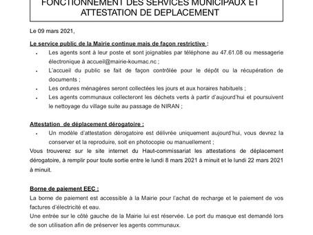 Communiqué n°2 FONCTIONNEMENT DES SERVICES MUNICIPAUX ET ATTESTATION DE DEPLACEMENT