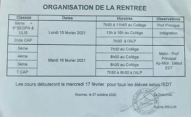 Organisation de la rentrée 2021 au collège de Koumac