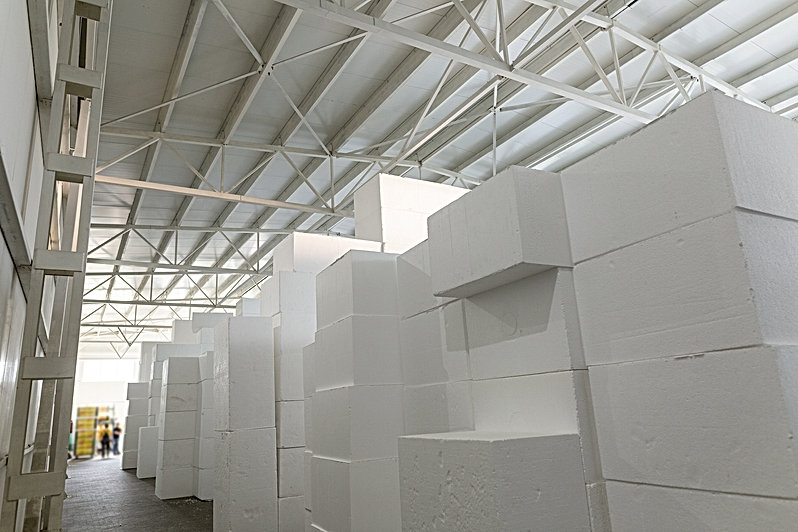Industrial production of polystyrene foa