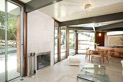 An open modern living room with lots of
