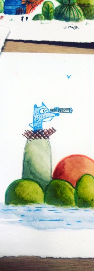 Aquarelle loup bleu