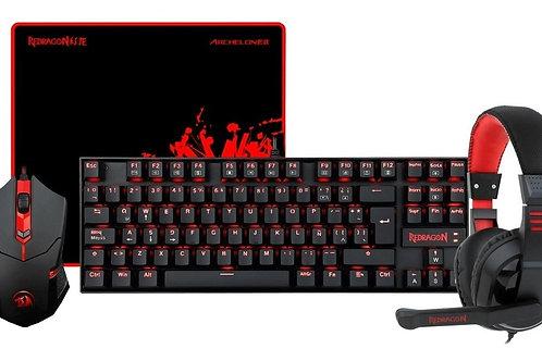 Kit Redragon K552-BB-1 teclado mecanico, mouse, mousepad y audifono