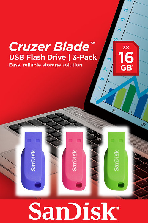 Pack 3  Pendrive 16GB Sandisk USB 2.0 Cruzer Blade