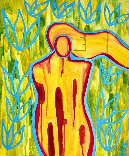 """""""New Blooms"""" Original Abstract Figurative Painting"""