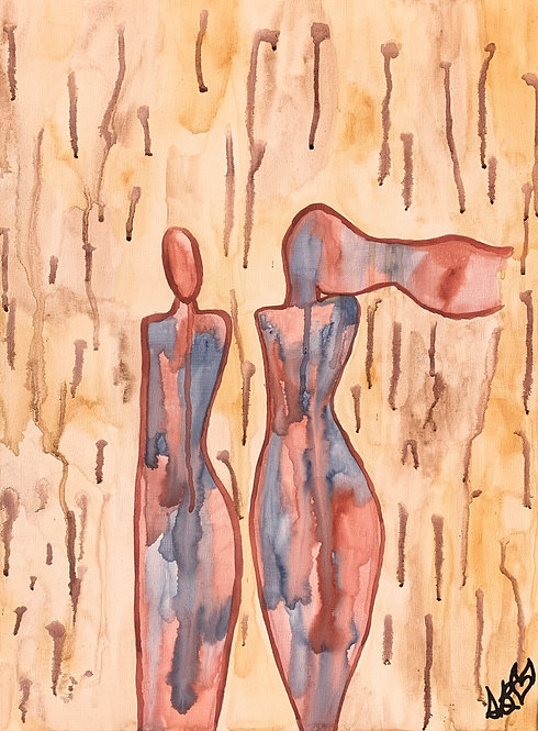 """Commotion"" Original Abstract Figurative Painting"