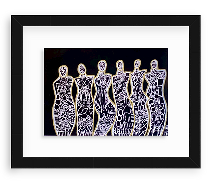 """""""Spreading Positive Energy"""" Original Abstract Figurative Drawing"""