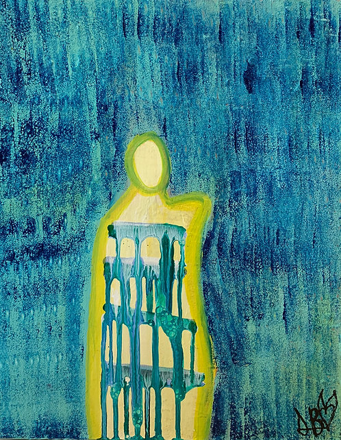 """No Longer Serve Me"" Original Acrylic Abstract Figurative Painting"