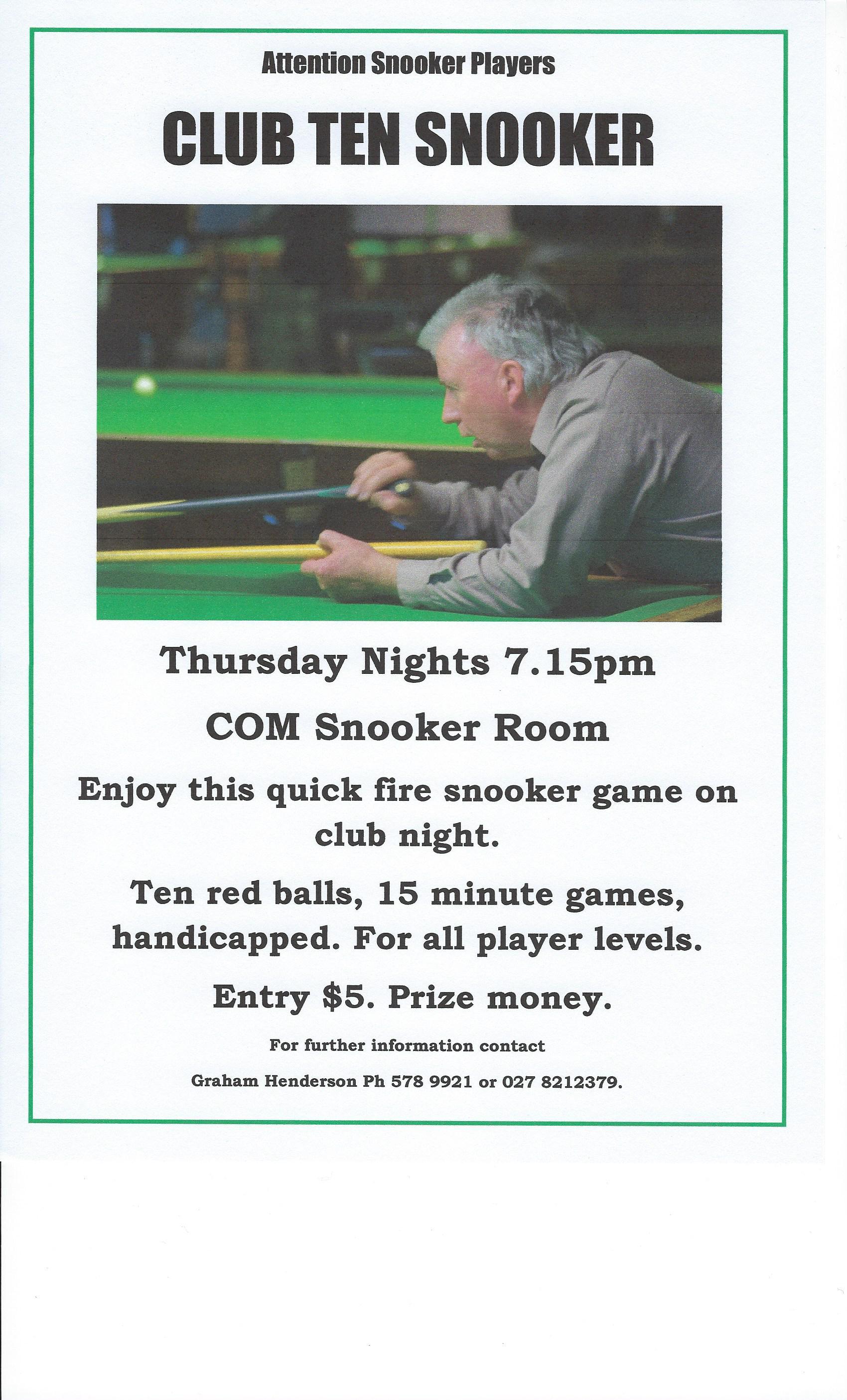 Snooker Club Ten Poster