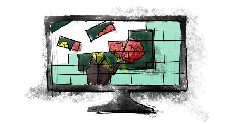 Rompecabezas en proceso de armado de un profesor que apunta a una pizarra dentro de una pantalla de computadora. Representación de recursos didácticos construidos para la educación online.