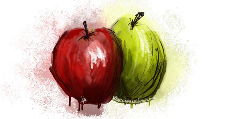 El dibujo de una manzana y una pera como caricatura de una comparación entre elementos distintos.