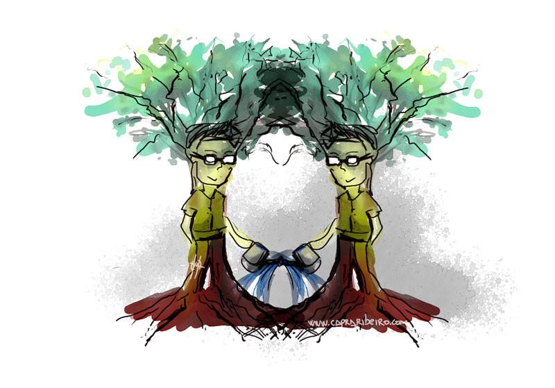 Dos personas convertidas en árboles que se riegan mutuamente.