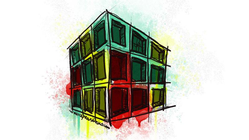 """Cubo tridimensional que tiene cada cara dividida en nueve cuadrados coloreados en tres colores de forma aleatoria como representación del """"3x3"""""""