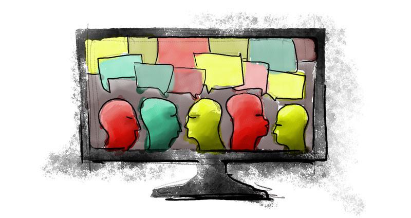 Una serie de personas converzando como representación de un aprendizaje colaborativo.