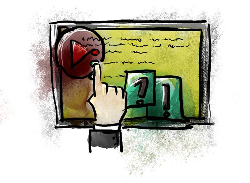 Una mano que toca una pantalla con botones, videos y textos.