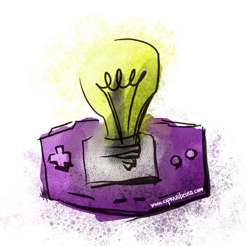 Una cónsola de juegos conectada a una bombilla como símbolo de una idea