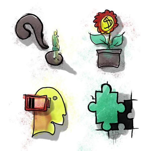 Se muestran cuatro imágenes: un símbolo de interrogación, una flor de dinero, una persona sin batería y una pieza de rompe-cabeza que no encaja.