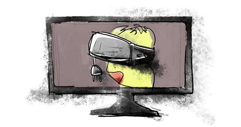 Una persona que usa lentes de realidad virtual que no están conectados, es decir, no tienen energía. Caricatura para representar el uso sin sentido de la tecnología.