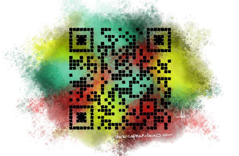 Código QR con colores en el fondo