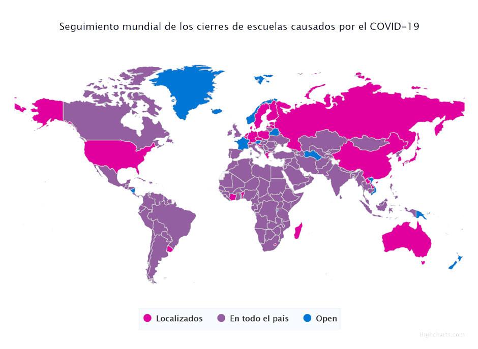 Mapa del mundo donde se muestra como en todos se han cerrado las instituciones educativas total o parcialmente.