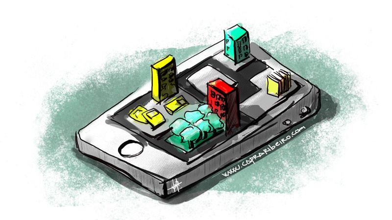 Un teléfono celular que contiene edificios, calles y libros tridimensionales en su pantalla