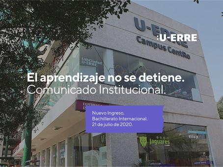 Comunicado Institucional - El aprendizaje no se detiene Nuevo ingreso Bachillerato Internacional