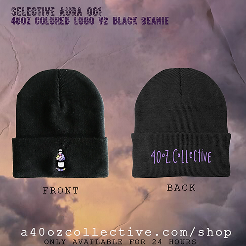 Selective Aura 001: 40oz Colored Logo V2 Black Beanie [Double Sided Embroidery]